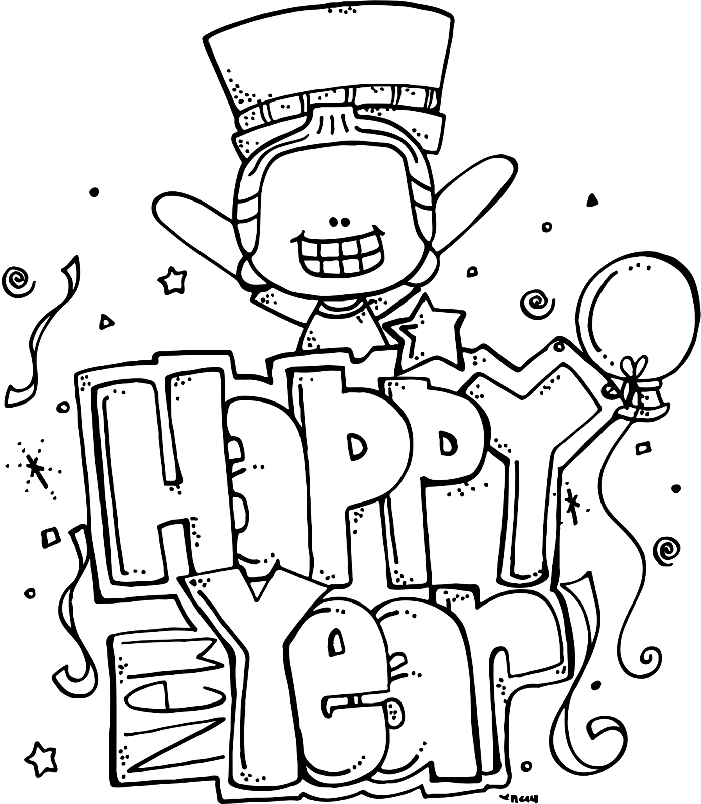Line Art Year : Melonheadz happy new year freebie