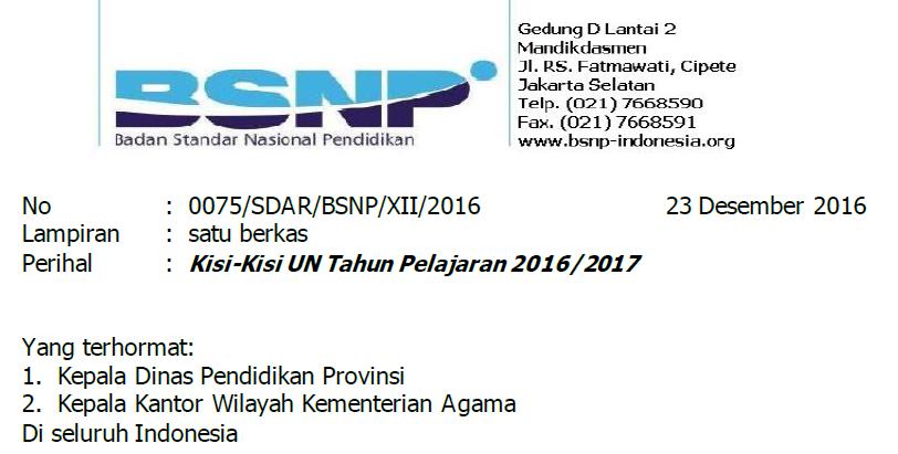 Kisi-Kisi Ujian Nasional Tahun Pelajaran 2016/2017