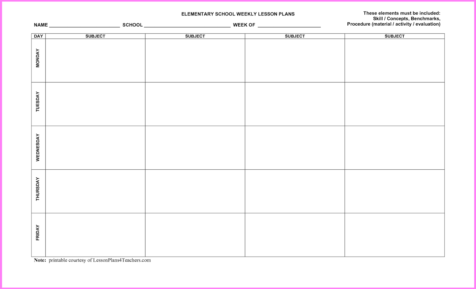 Free Printable Blank Lesson Plan Template
