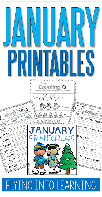 January Printables and a freebie  Reading, Math, and Writing included  with over 40 pages