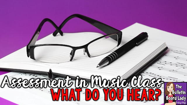 "Looking for practical ideas for assessing hundreds of music students in your classroom?  Check out this idea for assessing rhythm skills called ""What Do You Hear""."