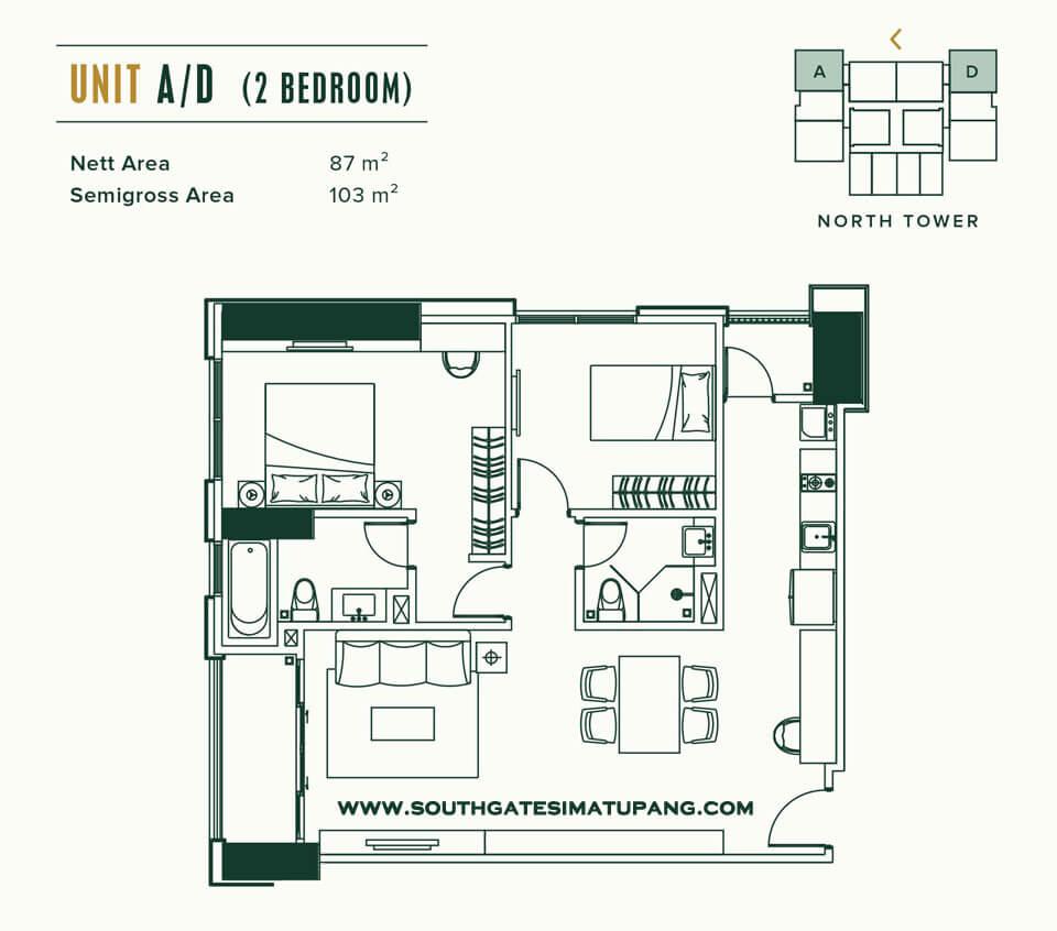 Floor Plan Unit A/D Apartemen Southgate Simatupang