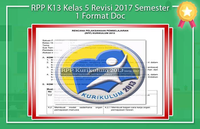 RPP K13 Kelas 5 Revisi 2017 Semester 1 Format Doc