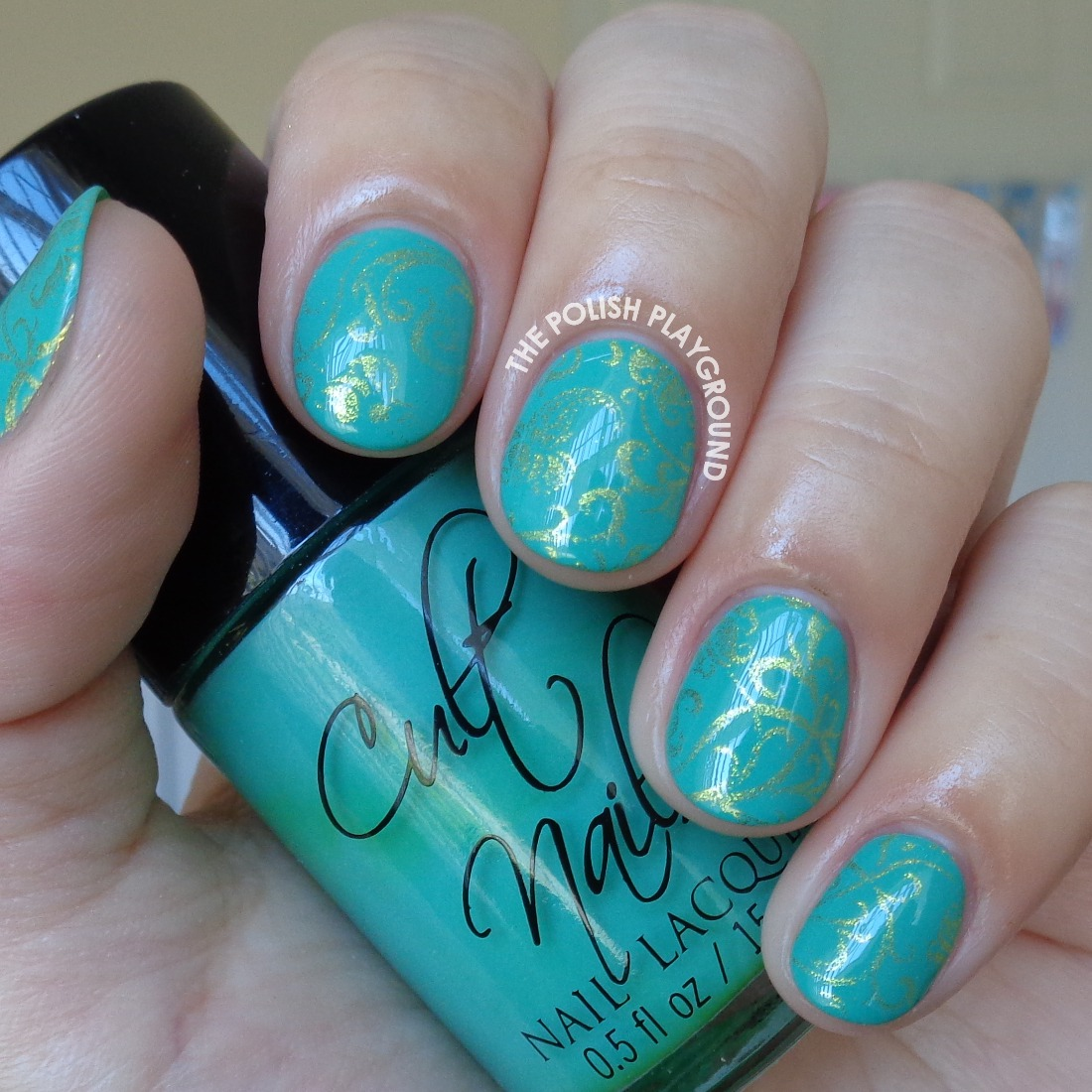 Green and Gold Luxe Floral Wallpaper Nail Art