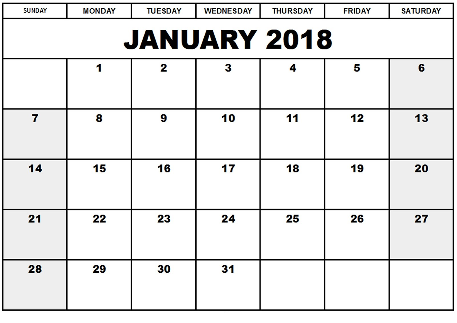 Printable calendar 2018 free january 2018 printable for Calendar templats