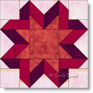 Ribbon Star quilt block image © Wendy Russell