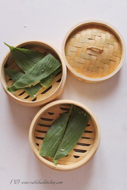 steamed dumplings in turmeric leaves
