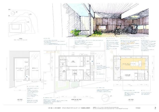プライバシーを確保しながらつくる穏やかな時を持つ家 平面計画・内観イメージ