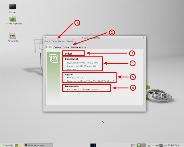 Прозор аплета Праћење система