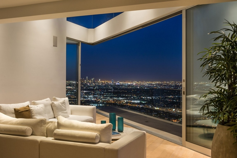 Living room view in Sharp modern home on Sunset Strip