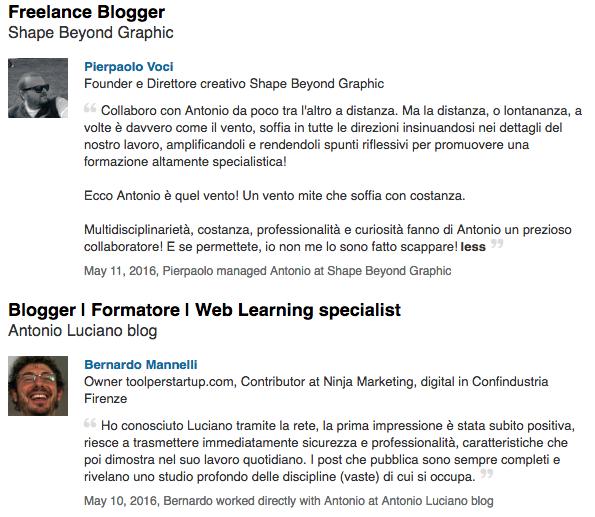 Linkedin recommendations collaborazione blogger