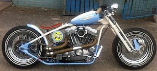 sportster bobber by sledhead custom cycles white and sky blue