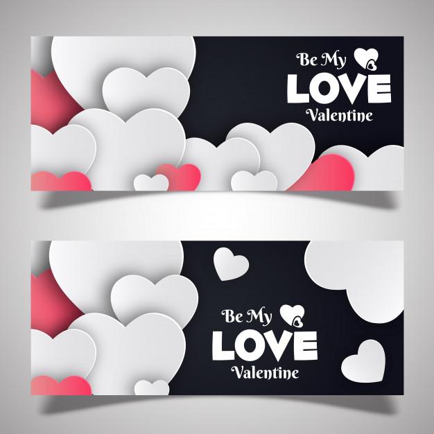 Valentine's Banner Designs Free Vector
