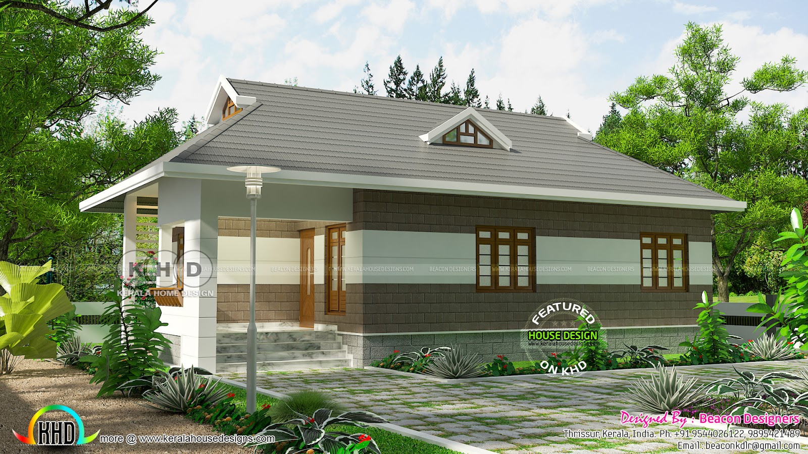 3 bedroom low cost house plan kerala home design and for Sedie design low cost