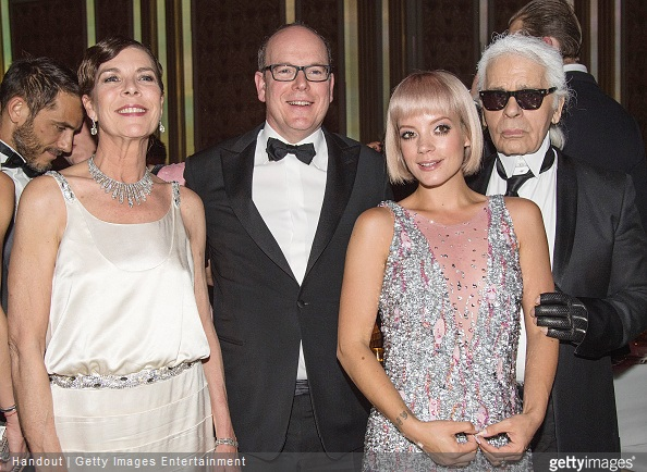 Princess Caroline of Hanover, Prince Albert II of Monaco, Lily Allen and Karl Lagerfeld attend the Rose Ball 2015 in aid of the Princess Grace Foundation at Sporting Monte-Carlo