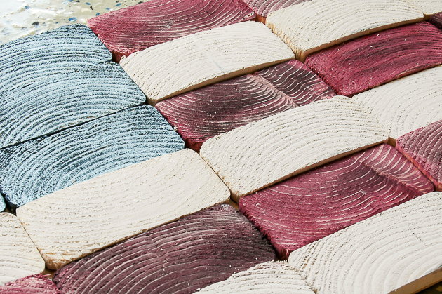 pieced 2x4 American flag
