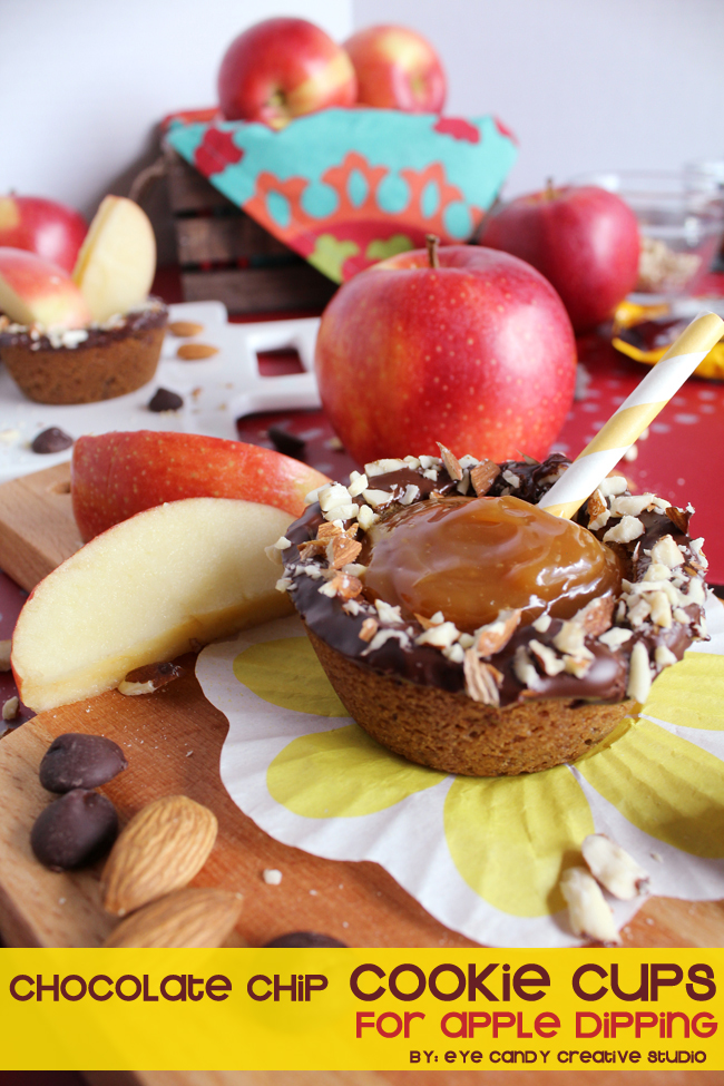 apple dipping cups, cookie cups recipe, how to make cookie cups