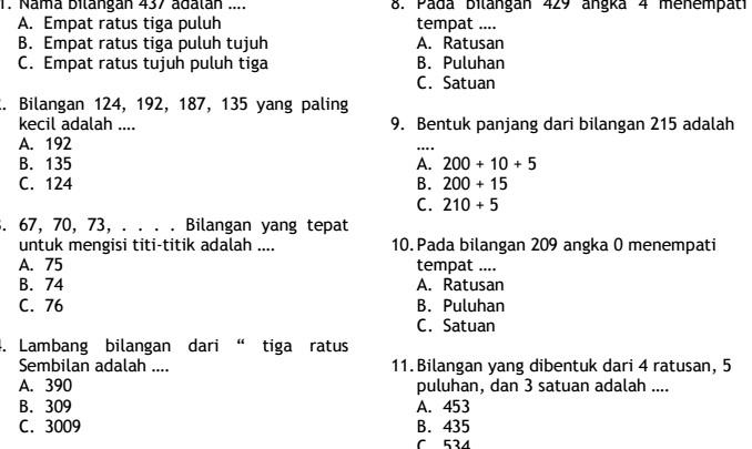 Latihan Soal UTS Matematika SD Kelas 2 Semester 1