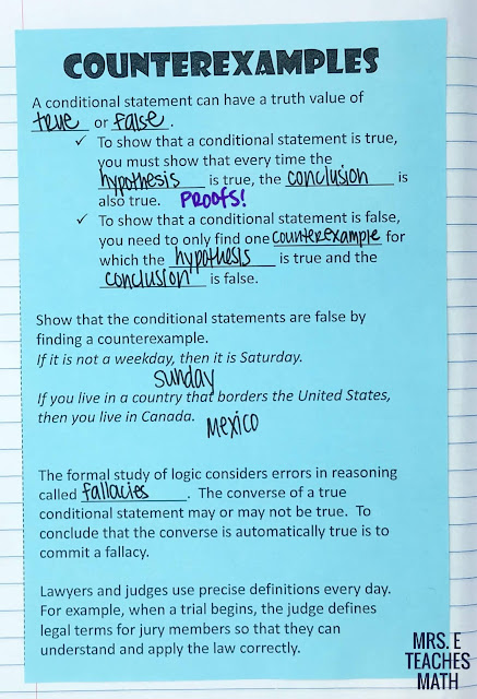 counterexamples page for geometry interactive notebooks