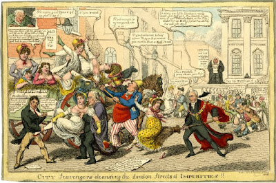 """City Scavengers Cleansing the London Streets of Impurities."" Charles Williams 1816. British Museum. The principle figure is the Lord Mayor, Wood (the man with the broom), who says: ""Go along you little Devil you nasty beast, you bad girl, I'm resolv'd to have none of your fornication in the City! Shove her up, Billy! (what Popularity this will give me!)"""