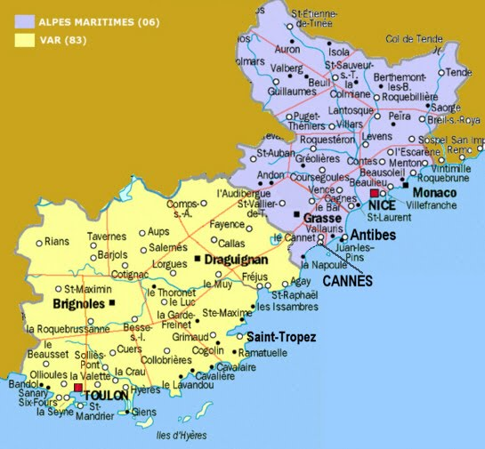 Cities In South Of France Map.Map Of South Of France Recana Masana
