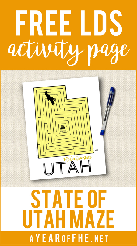 Mormon Pioneer Activity: Utah Maze // Print out this free maze of the State of Utah. To the LDS pioneers, this state represented so much more than their destination. It was Zion...a place where they could be free, set down roots, and worship as they wanted to. #lds #pioneers #utah (by A Year of FHE)