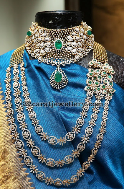 Multi Layer Diamond Haram by Kalasha Jewels