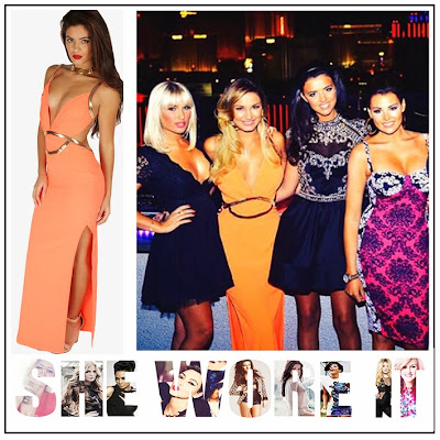Celeb Boutique, Chain Embellishment, Coral, Cut-out Detail, Gold, Maxi Dress, Neon, Open Back, Orange, Sam Faiers, Straps, The Only Way Is Essex, The Only Way is Vegas, TOWIE,