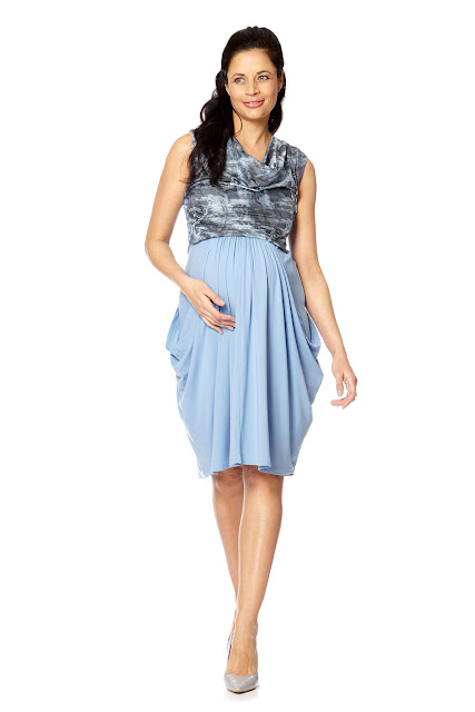 Bibee Maternity Classic Blue Cowl Front Dress