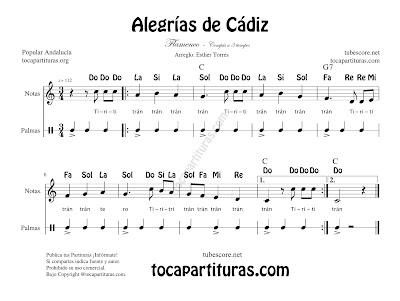"""Alegrías de Cádiz Partitura Fácil con Notas y acordes""""Ti ri ti tran tran"""" para Flauta, Violín, Oboe e instrumentos en Clave de Sol con Vídeo Tutorial (puedes cambiar la velocidad desde configuración)"""