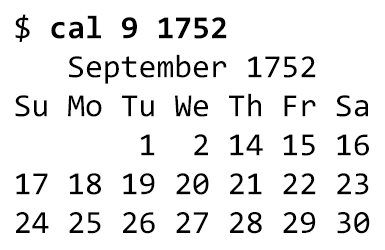 Unix cal command showing September 1752 calendar