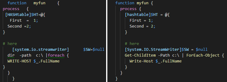 PowerShell Beautifier Code