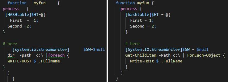 PowerShell Beautifier Code