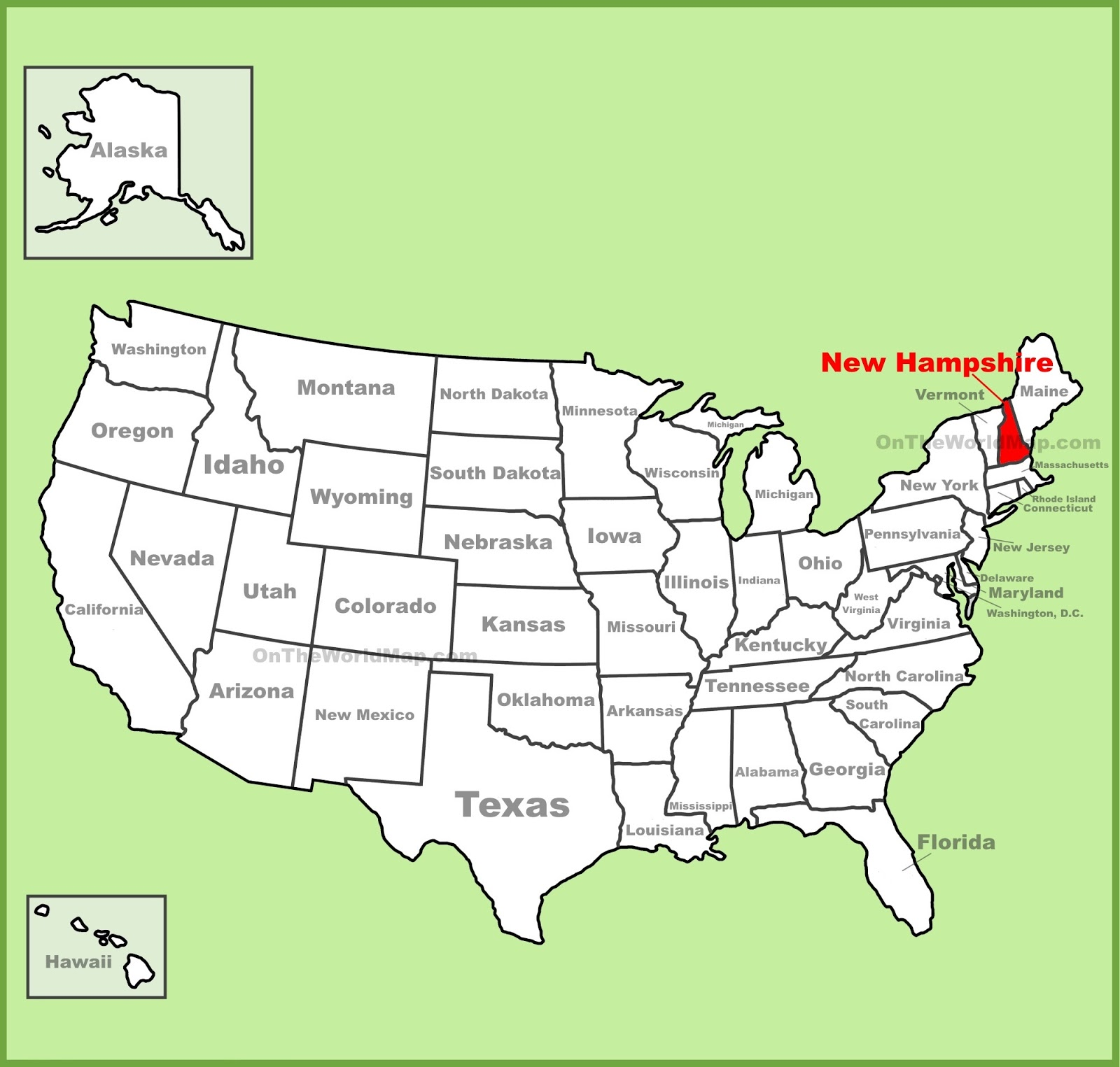 Map Of New Hampshire State Map Of America - Map to us