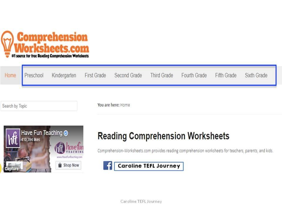 Caroline TEFL Journey: 5 Reading Comprehension Worksheets