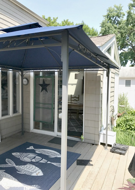 gazebo in corner of deck
