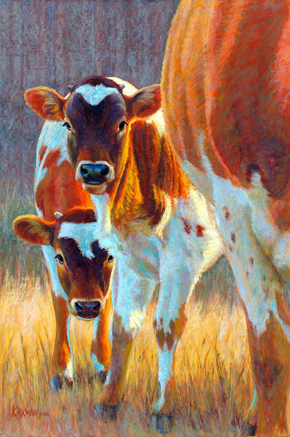 Pastel Cow Painting