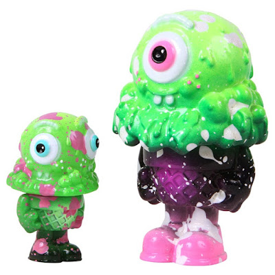 "Kickstarter Green Exclusive 2-Faced Mister Melty 3"" & Mister Melty 5"" Figures by Buff Monster"