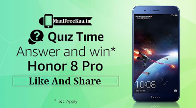 Amazon Honor Quiz Time: Answer & Win Honor 8 Pro Smartphone (Answers Included)