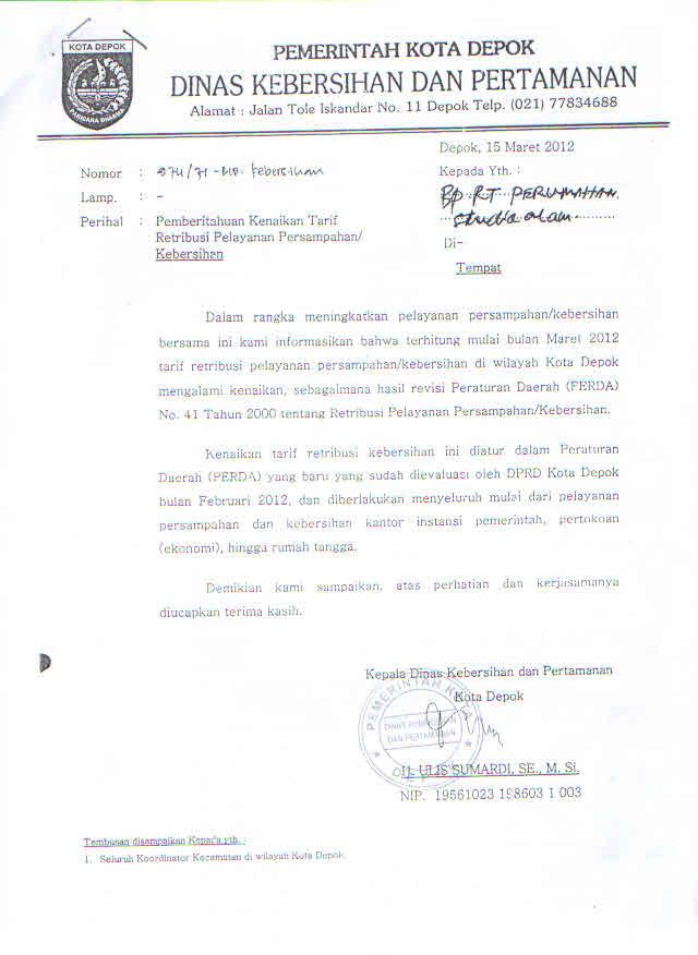 Contoh Surat Edaran Rt Untuk Warga