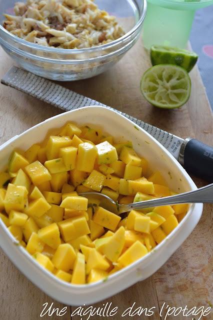 Délice de crabe à la mangue citron vert vanille