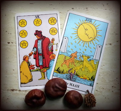 Rider Waite Tarot The Moon Six of Pentacles