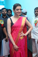 Kajal Aggarwal in Red Saree Sleeveless Black Blouse Choli at Santosham awards 2017 curtain raiser press meet 02.08.2017 009.JPG