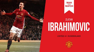 Ibrahimovic Man of the Match MU vs Sunderland 3-1
