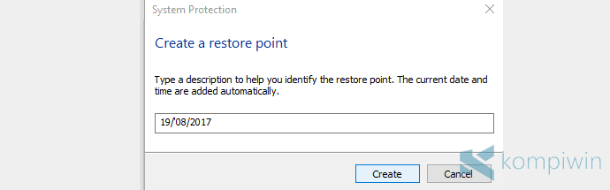 membuat system restore point di pc