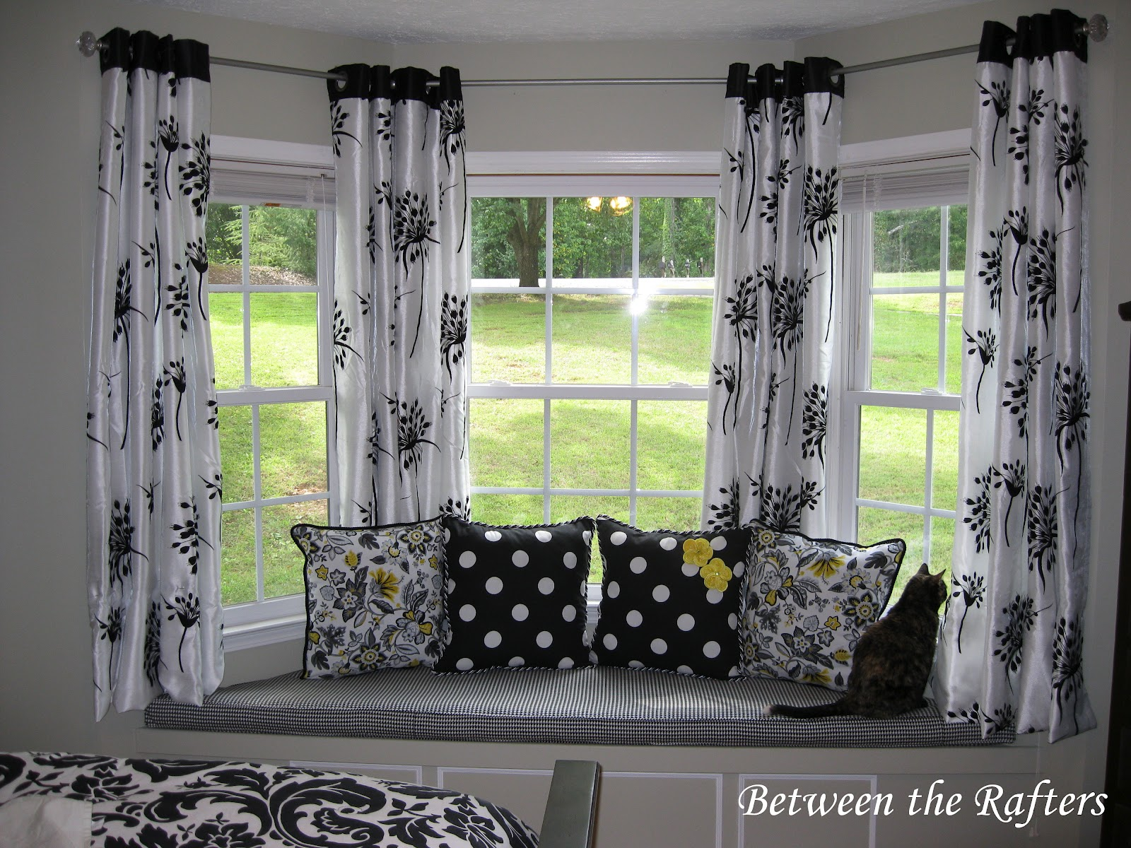 between the rafters do it yourself bay window curtain rod tutorial. Black Bedroom Furniture Sets. Home Design Ideas
