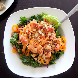 Spicy Poke Salad:  Spicy poke (pronounced poke-eh) topping a mixed green salad.