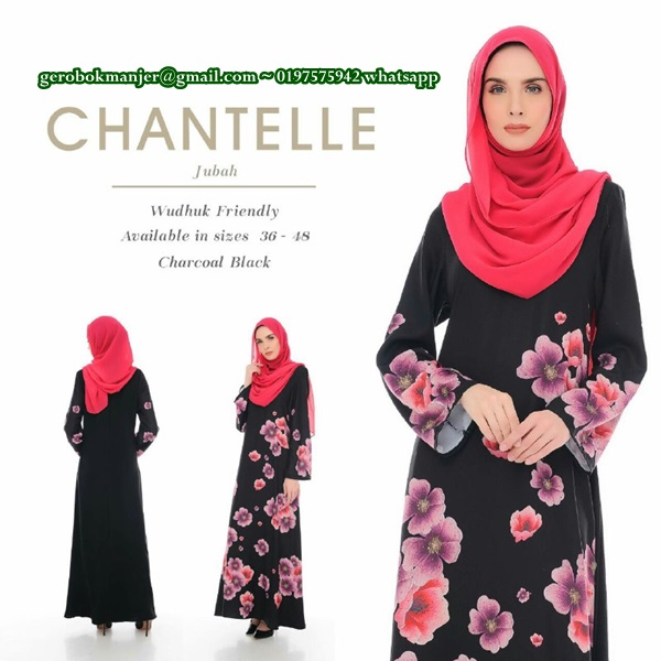 JUBAH DRESS MUSLIMAH MOSS CREPE CHANTELLE BY D'YANA