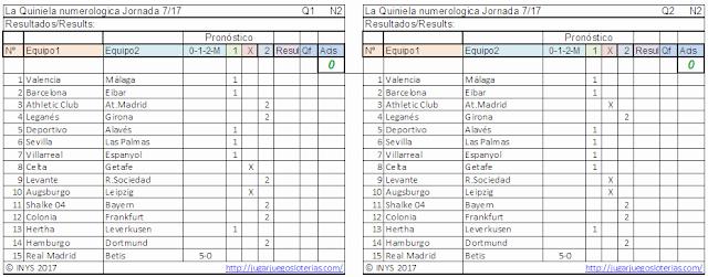 Millones en #LaQuiniela, la mejor liga de fútbol del mundo: en España. juega YA!.  Probabilidades para jornada 7: 20 de septiembre de 2017