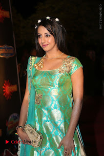 Actress Sanjjanaa Stills in Green Long Dress at Gemini TV Puraskaralu 2016 Event  0026.JPG